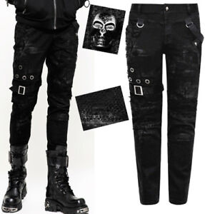 Jeans-pantalon-gothique-punk-destroy-delave-resille-rivet-sangle-vintage-Punkrav