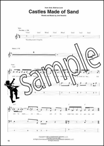 Jimi Hendrix Bass Guitar TAB Collection Music Book Foxey Lady Voodoo Child Fire