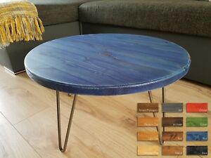 Rustic Industrial Wooden Round Side Coffee Table Metal Hairpin