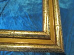VINTAGE-bamboo-gold-MCM-HOLLYWOOD-REGENCY-wood-PICTURE-FRAME-fits-15X18-art