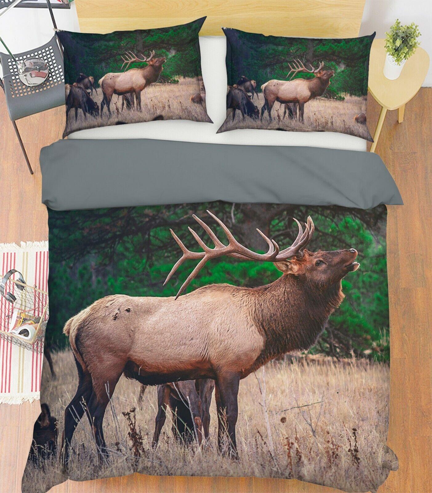 3D Elk Land G38 Animal Bed Pillowcases Quilt Duvet Cover Set Queen King Wendy