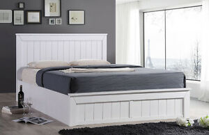 Cornwall White Solid Wood Ottoman Storage Bed Frame 4ft6