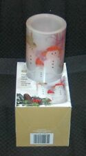 "Flameless Wax Candle Snowman Family 3 Christmas Carols NEW Musical 4"" LED Safe"