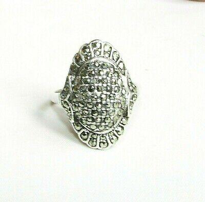 Professioneller Verkauf Vintage Silber Art Déco Markasit Edelstein Statement Ring Größe P Novel (In) Design;