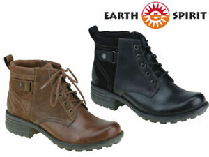 Earth-Spirit-Leather-Boots-Ladies-Ankle-Lace-Up-Chunky-Low-Heel-Winter-Zip-Shoes