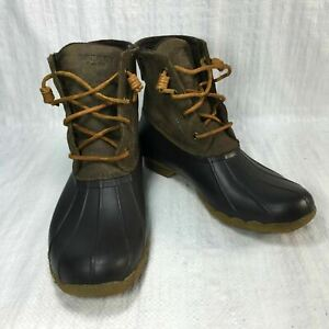 Sperry Saltwater 99729 Brown Leather Rubber Fleece Lace Up Women Duck Boots Sz 9