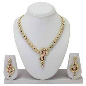 Braut Frauen Halskette Schmuck Legierung Weiß Cz Stein Set Goldrosa