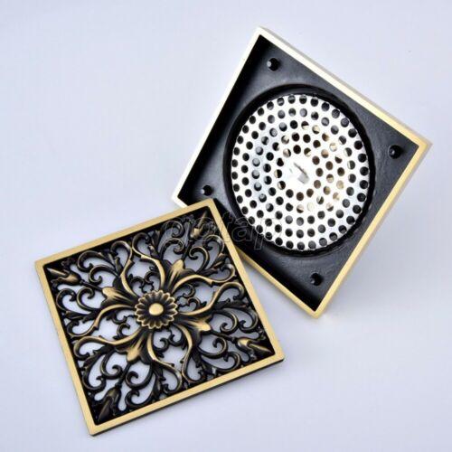 Antique Brass Tile Insert Square Floor Waste Grates Bathroom Shower Drain Ghr062