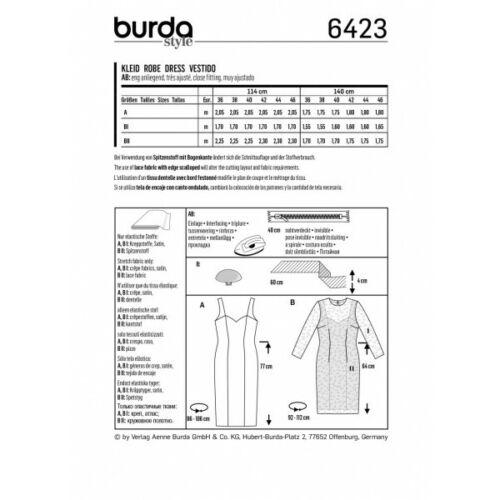 BURDA Stile Cinturino estate abito scollo cuore forma tessuto Sewing Pattern 6423