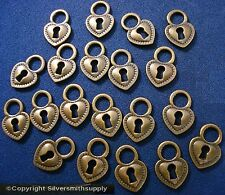 20 Heart with key hole shaped ant bronze plated pendants charms 17x12x2mm cfp083