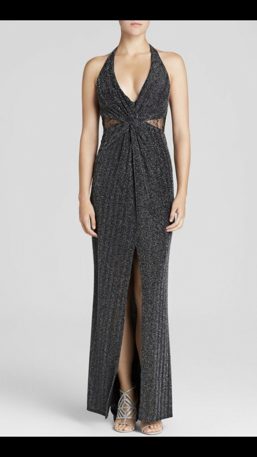 ABS by Allen Schwartz Sleeveless V Neck Metallic Herringbone Cutout Dress Gown S