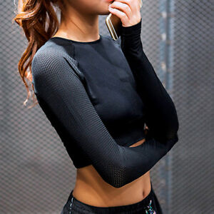 Womens-Yoga-Shirt-Crop-Top-Style-Long-Sleeve-Workout-Fitness-Athletic-Sports-Gym