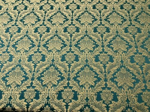 Lithuanian Luxury Damask Designer Brocade in TealCurtain Upholstery Fabric