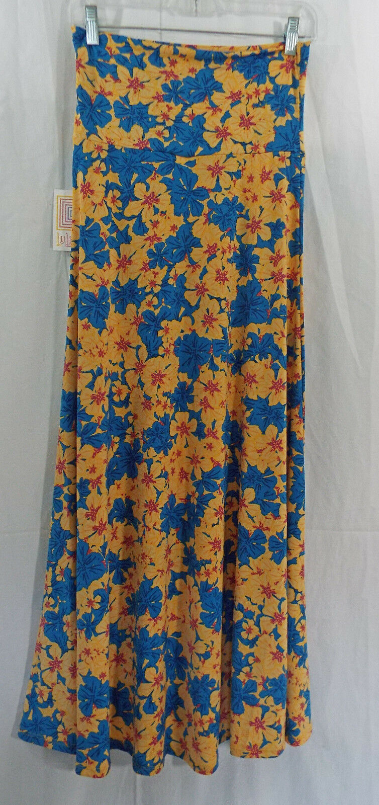 Women's LuLaRoe bluee Yellow Flowers Floral Maxi Skirt In XS NWT