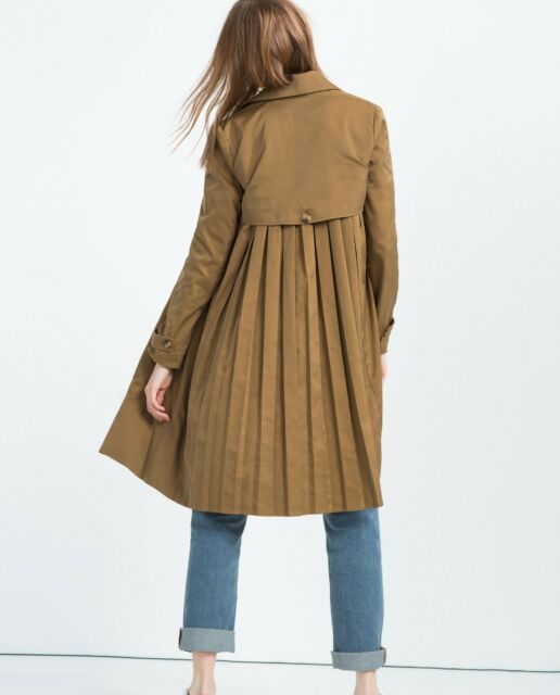 BNWT $129 Zara Trf PLEATED BACK TRENCH COAT Front Lapels 1255/014 Blogger Fave
