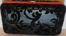 Floral Damask Clutch Wallet Black with Fuchsia Lining Matching Checkbook Cover