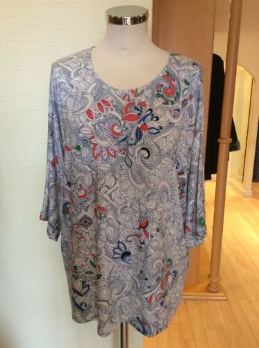 Riani Top Size 14 BNWT Cream Blue Coral Paisley Print RRP 149 Now 67