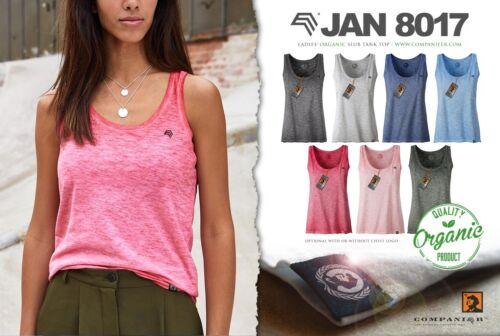 JAN 8017 Damen Bio-Baumwolle Tank Top T-Shirt COMPANIEER Schwarz Grau Tanktop ..