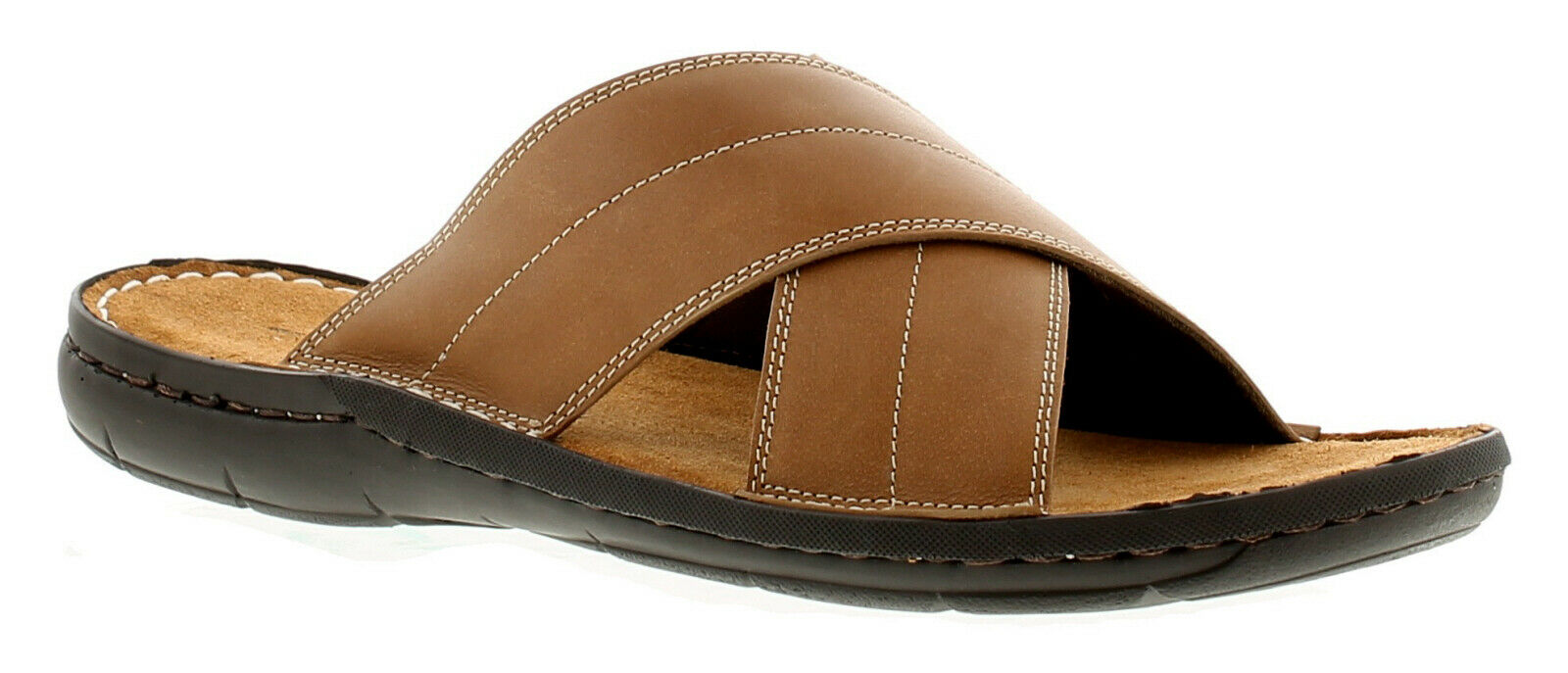 Barrier Island Victory Mens Leather Casual Beach Sandals Tan