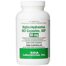 Generic Benadryl Allergy - Diphenhydramine (50mg) - 1000 Capsules (Pack of 2)