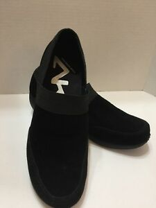 Shoes Leather Black Wedge Heel Stretchy