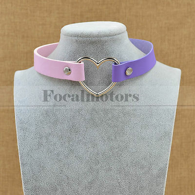 Lotia Sweet Pink Purple Heart Necklace Synthetic Leather Collar Choker Elegant