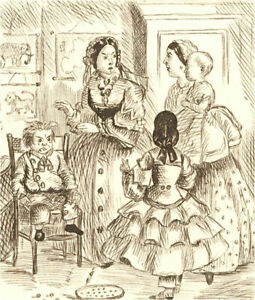1866 Pen and Ink Drawing - In the Nursery