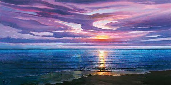 Adriano Galasso Tramonto sognante Keilrahmen-Bild Leinwand Sonnenuntergang Meer