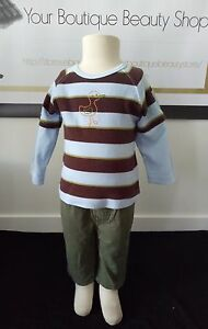 2-BABY-BOY-CARTERS-OSHKOSH-TEE-TOP-PANTS-JEANS-GREEN-BLUE-SOFT-CASUAL-BAY-OUTFIT