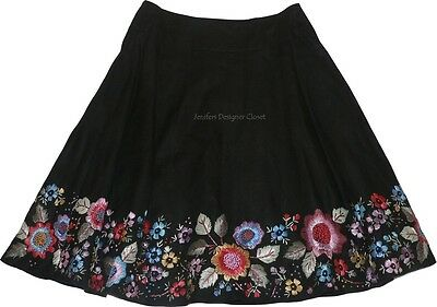 NWT SEE by CHLOE crewel embroidered linen skirt 6 black knee-length designer