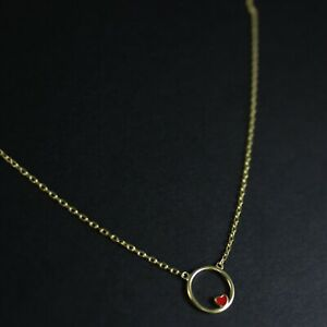 GENUINE-925-Sterling-Silver-Tiny-Red-Heart-Circle-Delicate-Necklace-UK-New