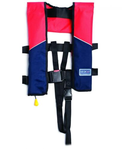 Seago 190N Classic Automatic Lifejacket Red//Navy Inc Crutch Strap and Bag