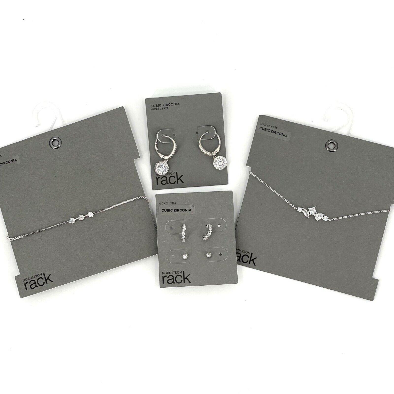 Nordstrom Rack Bracelet & Earring Bundle CZ Silver Tone Nickel Free NWT