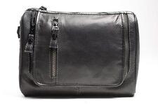 Prime Hide Luxury Black Leather Hanging Washbag -946 by Firelog