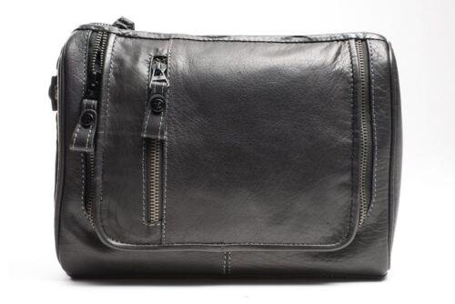946 by Firelog Prime Hide Luxury Black Leather Hanging Washbag
