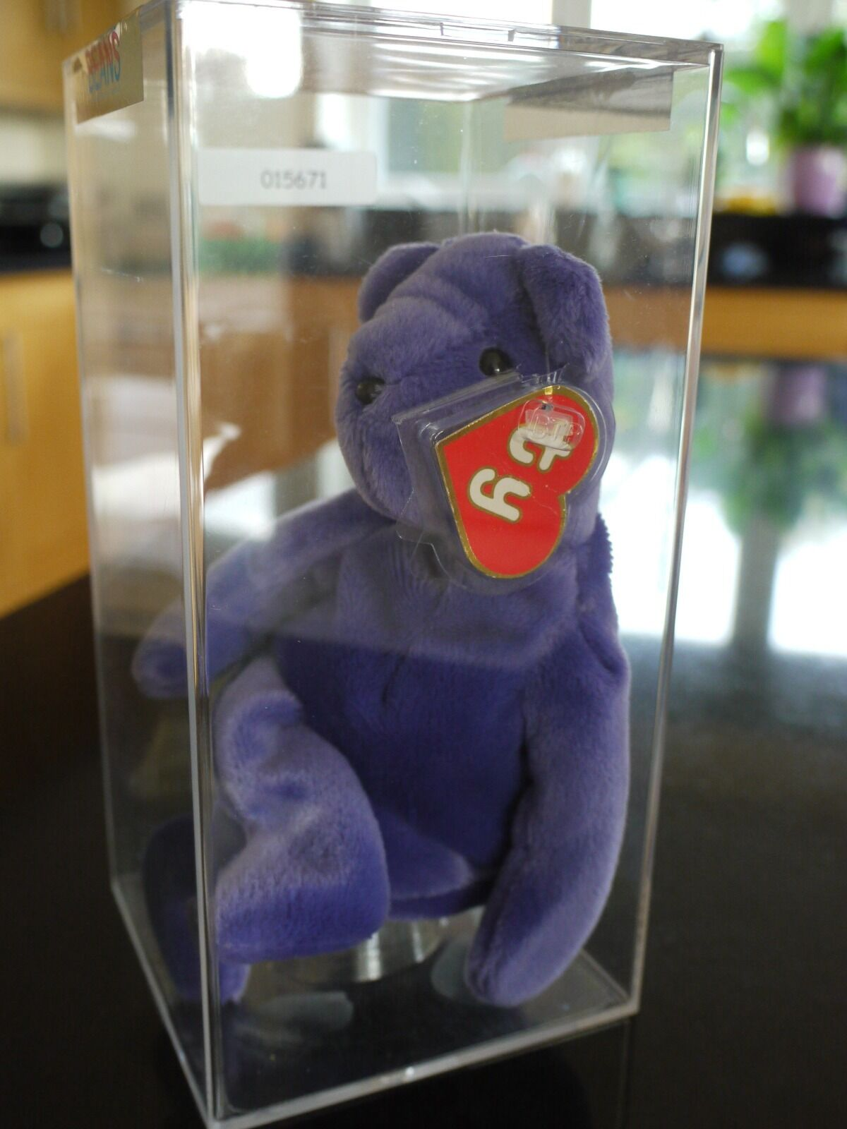 Ty beanie babies   baby bear - Authenticated Old Face purple - 1st gen tags