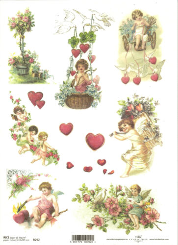 Rice Paper for Decoupage Scrapbooking Angel Amor Cupid Heart Love  A4 ITD R292