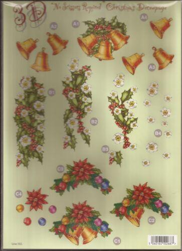 051-502 A4 Die Cut 3D Christmas Decoupage Sheet