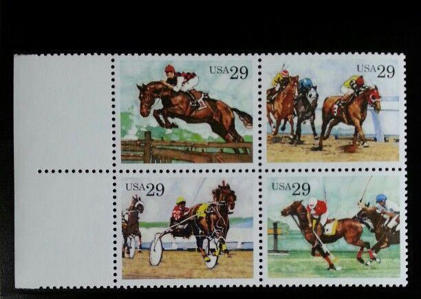 1993 29c Sporting Horses, Block of 4 Scott 2756-59 Mint