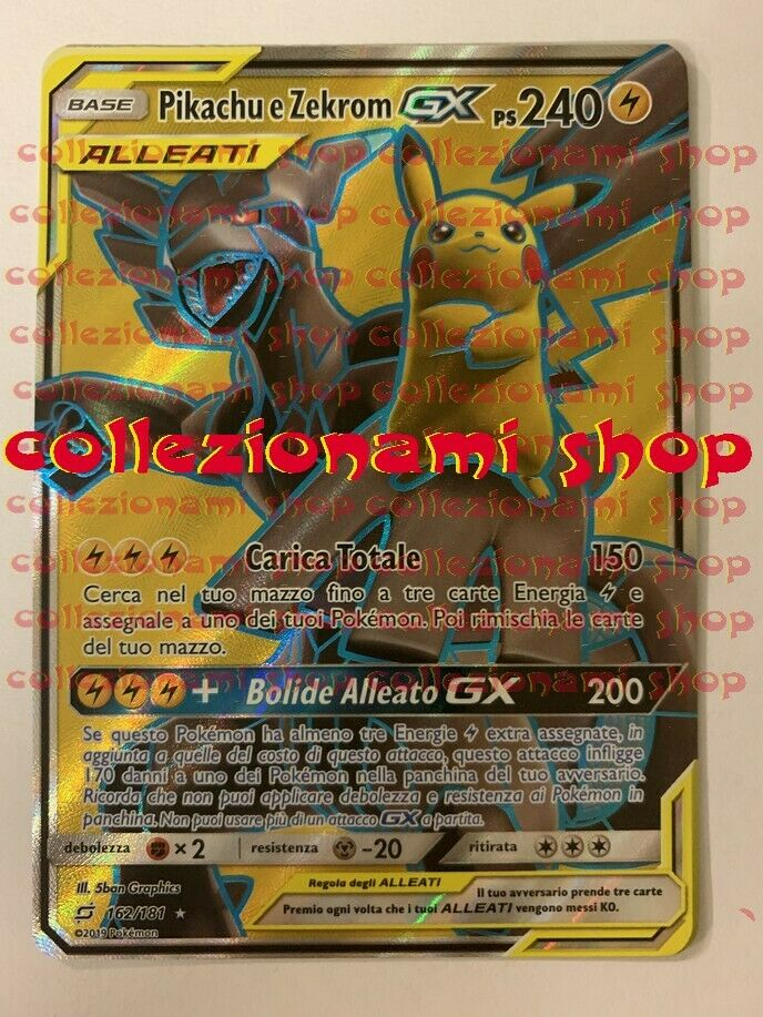 162 181 Pikachu and Zekrom GX-Ultra Rare-Team Game-drawing in Italian