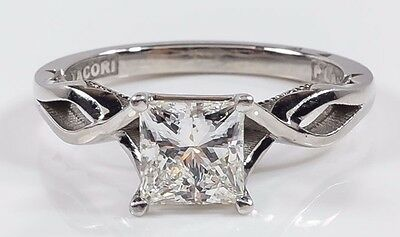 NEW Tacori EGL Platinum 0.88ct Princess VS1/F Diamond Engagement Ring Size 4.5