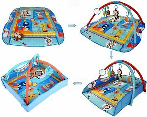 LADIDA Blue 4 in 1 Large Boy Girl Baby Playmat Music, Mirror, Toys, Activity Mat