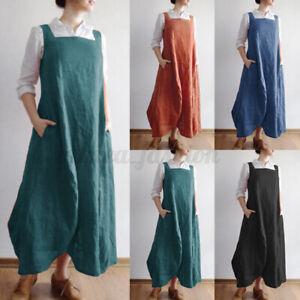 ZANZEA-Femme-Robe-Col-Carre-Mince-Sans-Manche-Poches-Maxi-Long-Dress-Oversize