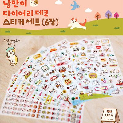 6 Sheets DIY Cute Cartoon Cat Paper Sticker for Scrapbooking Diary Decoration EF