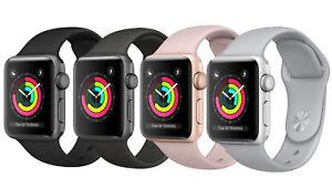 Apple-Watch-Series-3-GPS-38MM-42MM-Aluminum-Stainless-Case-Sport-Black-Rose-Blue