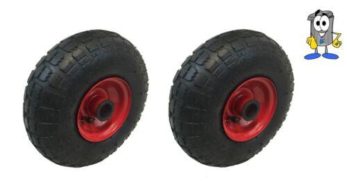"""2 x 10 /""""pneumatique 4.10-4 35mm alésage sacktruck roue metal centre 20mm poignées"""