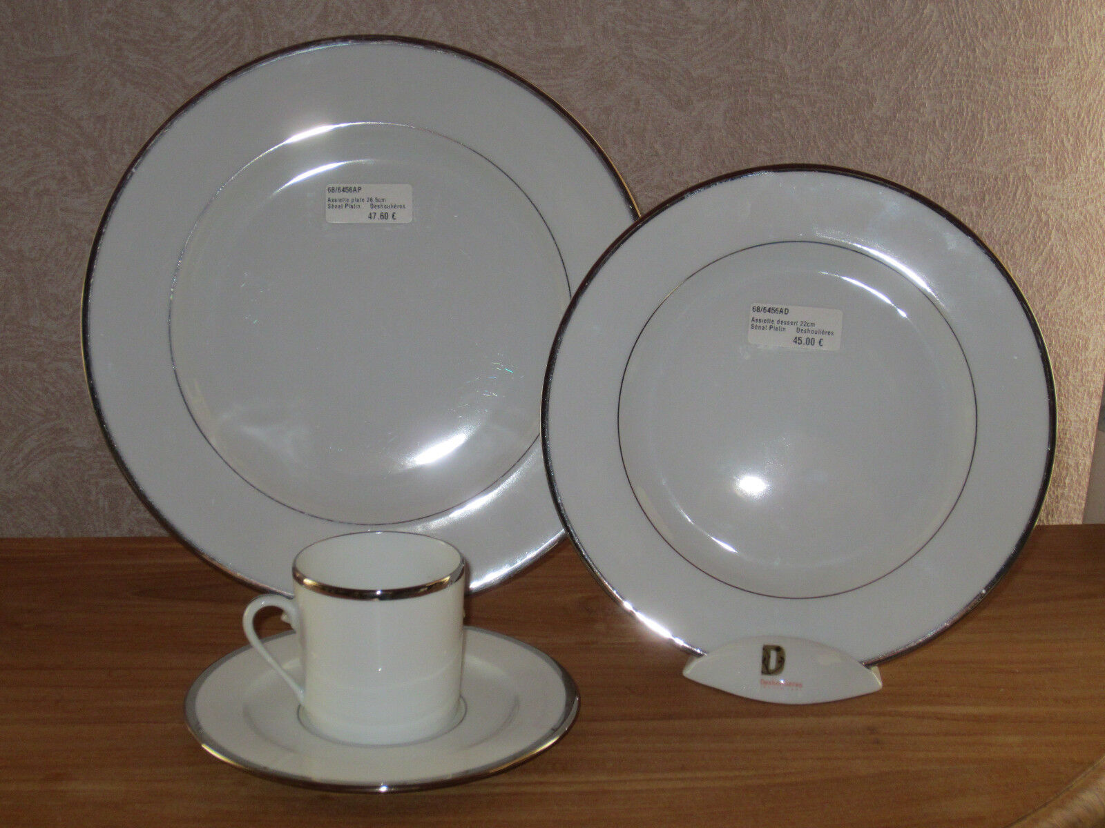 PHILIPPE DESHOULIERES NEW SENAT Sénat Platine Set 2 Assiettes + 1 Tasse Cup