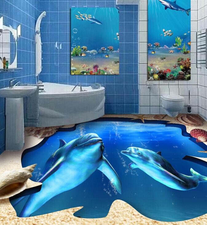 3D Zwei Delphine 254665 Fototapeten Wandbild Fototapete BildTapete Familie DE
