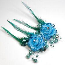 2 Stück Haarclip TÜRKIS BLAU Ansteckblume Blume Perlen Federn Strassstein Blumen