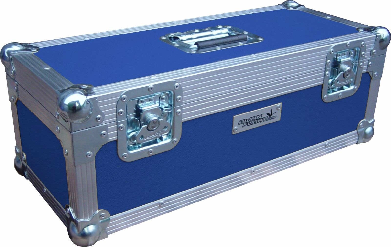 7  Single 300 Swan Flight Case Vinyl Record Box (Blau Rigid PVC)